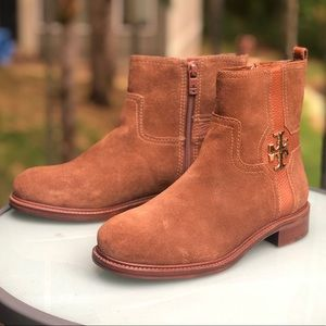 Tory Burch Brown Ankle Suede Leather Boots